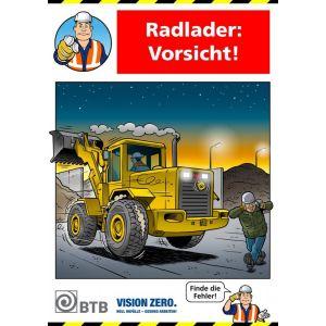 Poster Radlader: Vorsicht